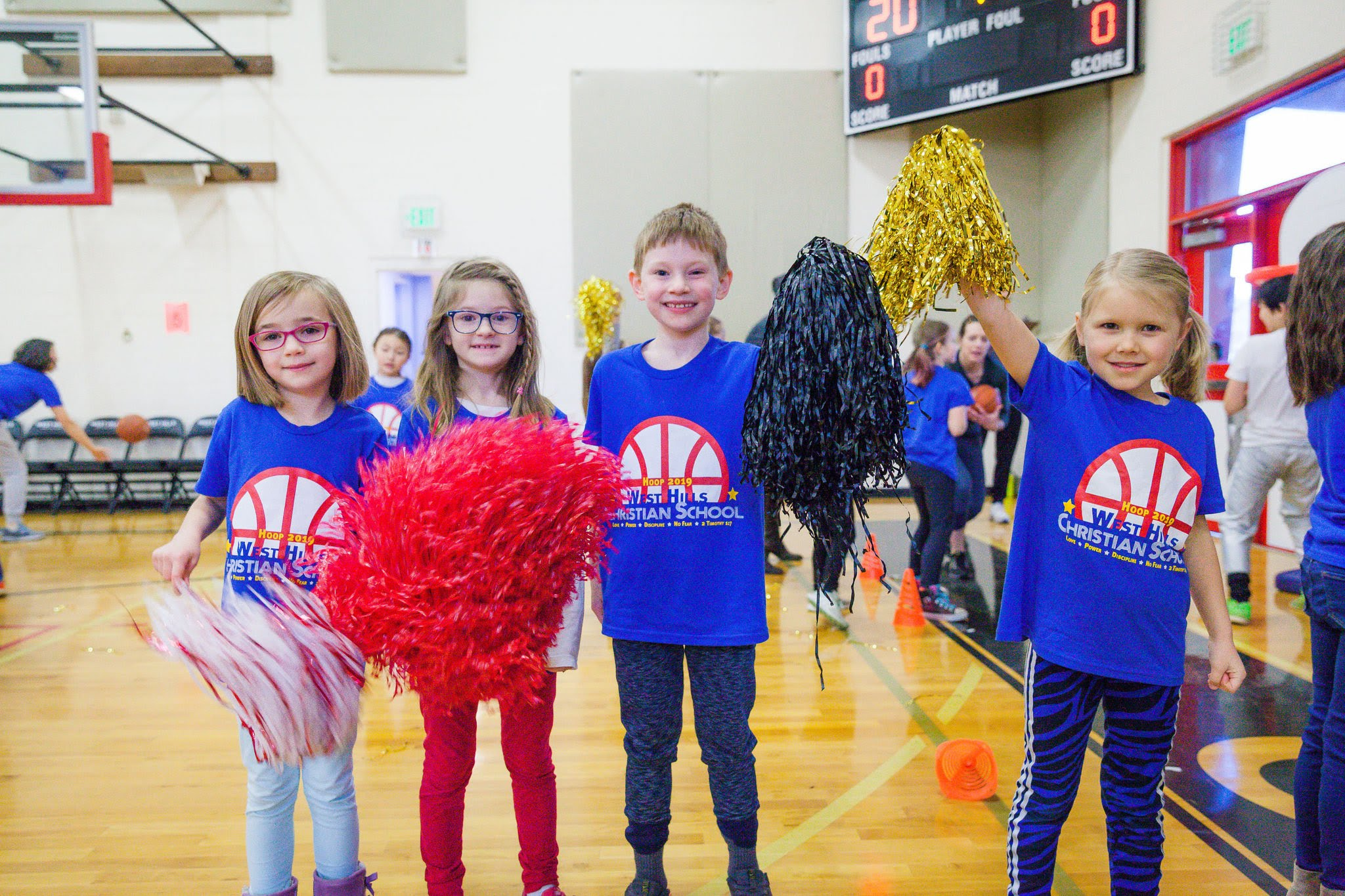 Student cheering for Hoop-a-thon fundraiser